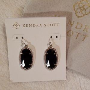 Kendra Scott black faceted Dani earrings in silver